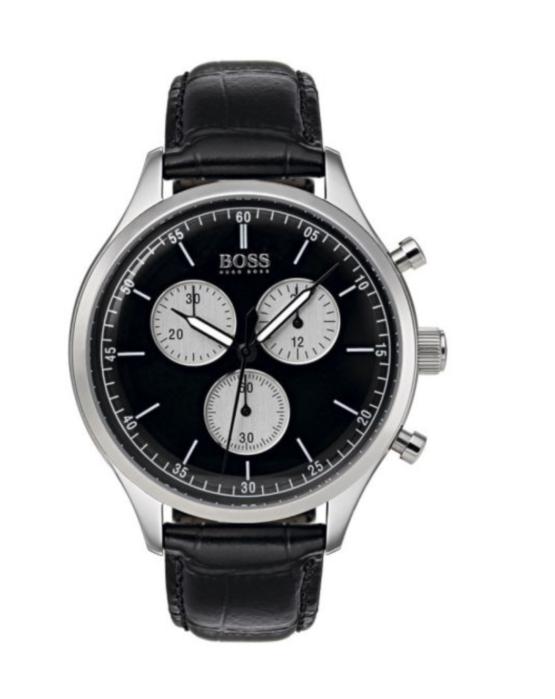 Hugo Boss rustfrit stål, med mineral glas, og sort skive. Chronograph ur