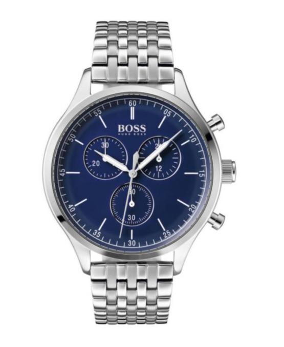 Hugo Boss rustfrit stål, med mineral glas, og blå skive. Chronograph ur