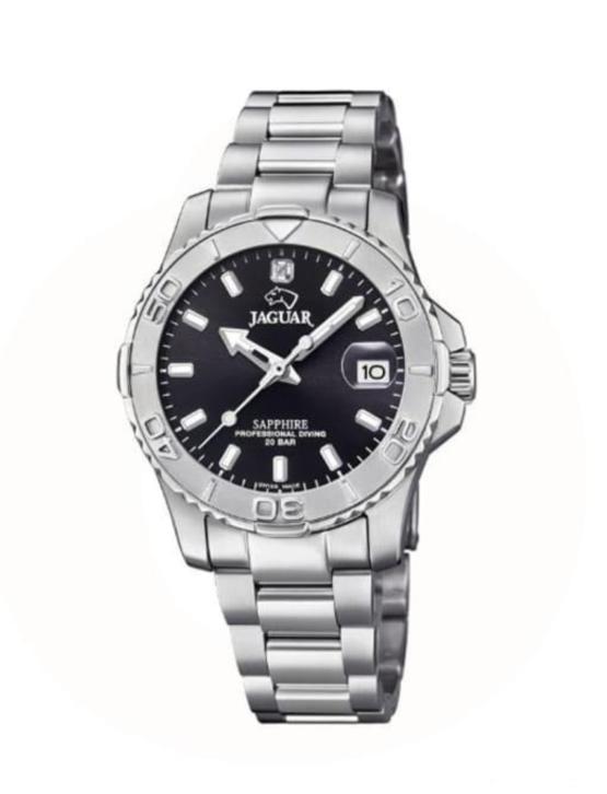 Jaguar Executive diver dame ur i rustfrit stål 316L, med safir glas, og sort skive