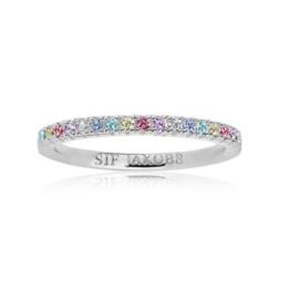 Sif Jakobs ring i sølv med multifarvede zirkoner 2mm