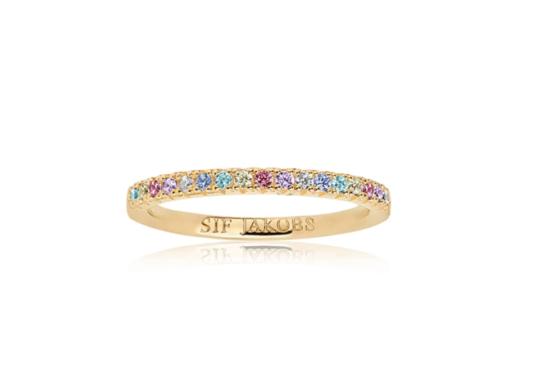 Sif Jakobs ring med i 18kt forgyldt sølv med multifarvede zirkoner