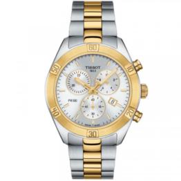 Tissot PR 100 sport chic chronograph rustfrit stål double, med safir glas, hvid skive, dato