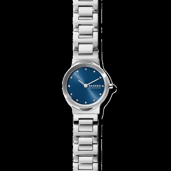 Skagen dame ur i rustfrit stål med mørkeblå urskive med krystaller, og med Lænke. Skagen ur Freja SKW2789. quartz ur med mineralglas.