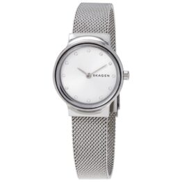 Skagen dame ur i rustfrit stål med hvid urskive med krystaller, og mesh lænke samt mineral glas. 30meter, quartz ur.