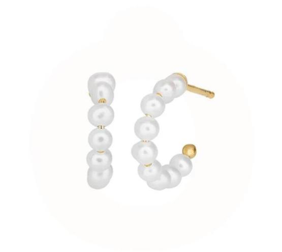ByBiehl Mini Pearl hoops 14mm i sølv forgyldt og ferskvandsperler. Belagt med 14kt