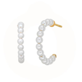byBiehl Small pearl hoops 16mm i sølv forgyldt og med ferskvandsperler