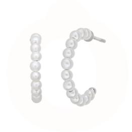byBiehl Small pearl hoops 16mm i sølv og med ferskvandsperler