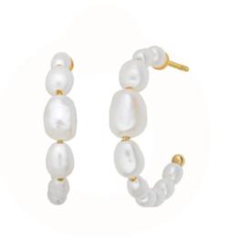 byBiehl Aura pearl hoops 20mm i forgyldt sølv, med ferskvandsperler