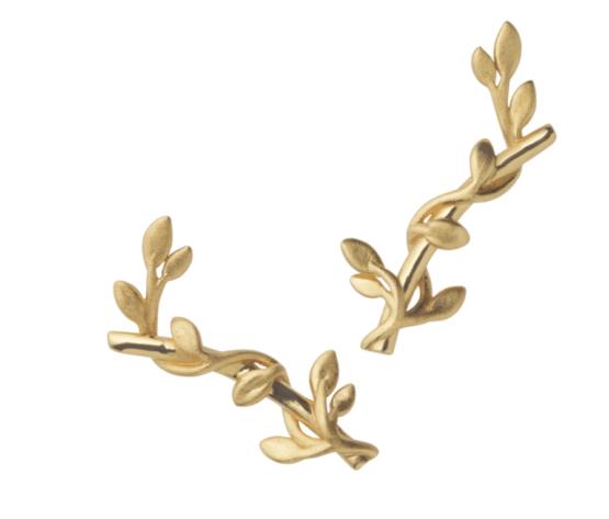 ByBiehl Jungle lvy earsticks i forgyldt sølv Størrelse: 2cm