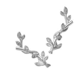 byBiehl Jungle lvy sparkle earsticks i sølv med zirkoner. Længde: 2cm