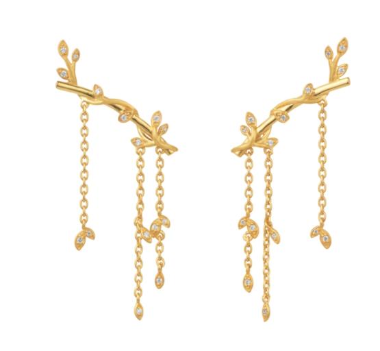 byBiehl Jungle lvy sparkle earring large i 14kt forgyldt sølv. Længde på ørestik: 2,5 cm. Længde på kæde: 3 cm.