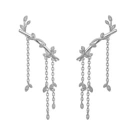 byBiehl Jungle lvy sparkle earring large i sølv. Længde på ørestik: 2,5 cm. Længde på kæde: 3 cm.