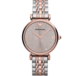 Armani ur – Gianni T-bar – med datovisning og stopur. Urets vandtæthed 3ATM / 30 meter. Uret har hærdet mineralglas, stålurkasse, stål lænke og sølv/grå urskive. Ar1840