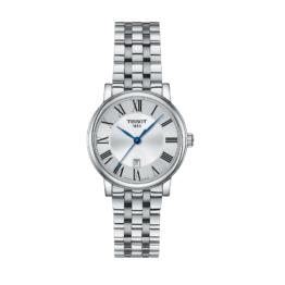 Tissot - Carson Premium Lady – Urets vandtæthed 5ATM / 50 meter. Uret har safir glas, stålurkasse, stål lænke og hvid urskive.
