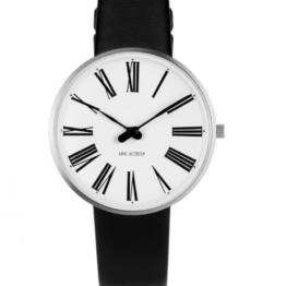 Arne Jacobsen ur – Roman – Urets vandtæthed 3ATM / 30 meter. Uret har hærdet mineralglas, stålurkasse, læder rem og hvid urskive. 34mm