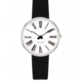 Arne Jacobsen ur – Roman – Urets vandtæthed 3ATM / 30 meter. Uret har hærdet mineralglas, stålurkasse, læder rem og hvid urskive. 3 atm og 30mm.