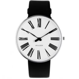 Arne Jacobsen ur – Roman – Urets vandtæthed 3ATM / 30 meter. Uret har hærdet mineralglas, stålurkasse, læder rem og hvid urskive. 40mm