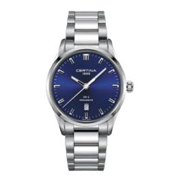 Certina –DS-2 – Urets vandtæthed 10ATM / 100 meter. Uret har safir glas, stålurkasse, stål lænke og blå urskive. Samt PrecidriveTM