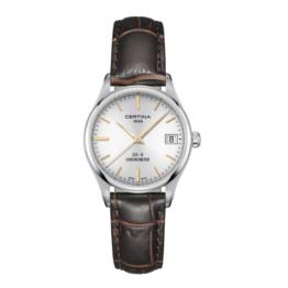 Certina – DS-8– Urets vandtæthed 10ATM / 100 meter. Uret har safir glas, stålurkasse, læder rem og hvid urskive.