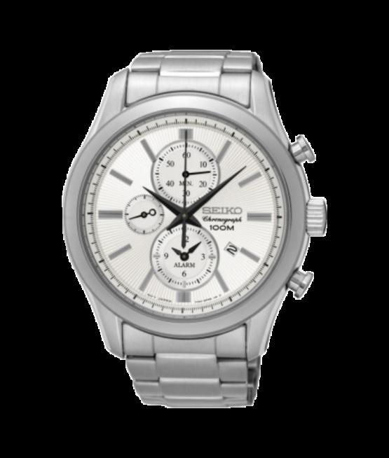 Seiko ur med kronograf og alarm funktion - SNAF63P1 - Quarts ur med en vandtæthed på 10 ATM / 100 meter.