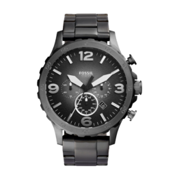 Fossil ur – NATE – med datovisning og stopur. Urets vandtæthed 3ATM / 30 meter. Uret har hærdet mineralglas, stålurkasse, stål lænke og sort/grå urskive.
