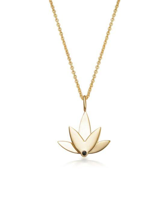 East Copenhagen halskæde med lotus vedhæng i forgyldt sølv med sorte zirkoner