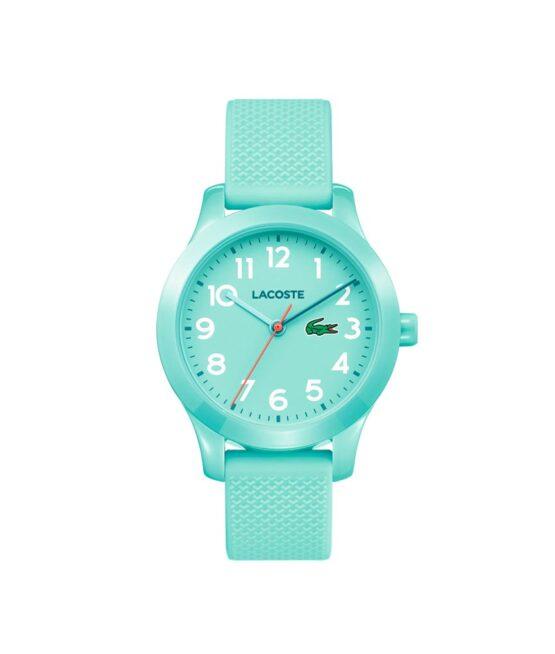 Lacoste Junior børneur – 2030005 – Quartz ur og vandbeskyttet til 5 ATM. Uret har mineralglas, en urkasse i plastik, lyseblå urskive med hvide tal, lyseblå silikonerem og måler 32mm i diameter.