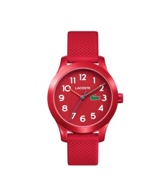 Lacoste Junior børneur – 2030004 – Quartz ur og vandbeskyttet til 5 ATM. Uret har mineralglas, en urkasse i plastik, rød urskive med hvid tal, rød silikonerem og måler 32mm i diameter.