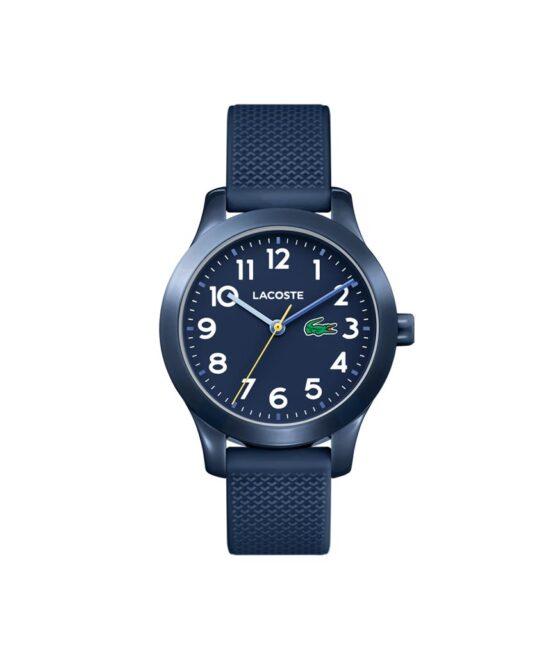 Lacoste Junior børneur – 2030002 – Quartz ur og vandbeskyttet til 5 ATM. Uret har mineralglas, en urkasse i plastik, mørkeblå urskive med hvide tal, mørkeblå silikonerem og måler 32mm i diameter.