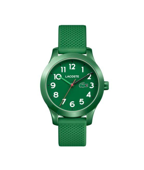 Lacoste Junior børneur – 2030001 – Quartz ur og vandbeskyttet til 5 ATM. Uret har mineralglas, en urkasse i plastik, grøn urskive med hvide tal, grøn silikonerem og måler 32mm i diameter.