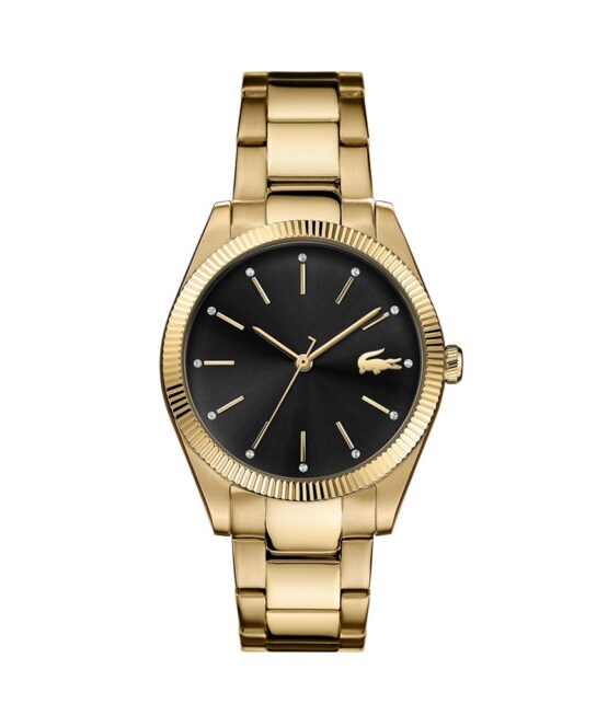 Lacoste Parisienne – 2001088 – Quartz ur og vandbeskyttet til 5 ATM. Uret har mineralglas, en urkasse i rustfrit stål, sort urskive, double stål lænke og måler 36mm i diameter.