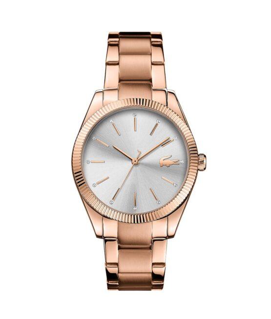 Lacoste Parisienne – 2001160 – Quartz ur og vandbeskyttet til 3 ATM. Uret har mineralglas, en urkasse i rustfrit stål, sølv farvet urskive, rosa double stål lænke og måler 36mm i diameter.