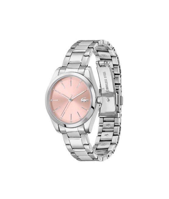 Lacoste Petite Parisienne – 2001176 – Quartz ur og vandbeskyttet til 3 ATM. Uret har mineralglas, en urkasse i rustfrit stål, rosa farvet urskive, stål lænke og måler 30,7mm i diameter.