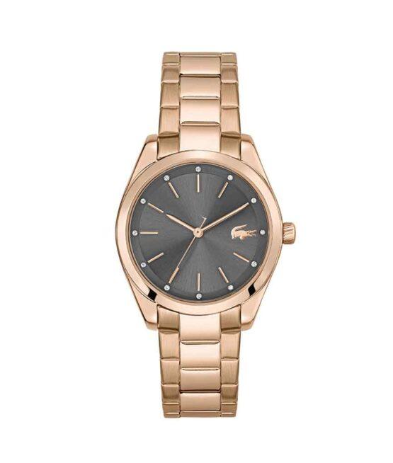 Lacoste Petite Parisienne – 2001177 – Quartz ur og vandbeskyttet til 3 ATM. Uret har mineralglas, en rosa farvet urkasse i rustfrit stål, grå urskive, rosa stål lænke og måler 30,7mm i diameter.