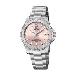 Jaguar Executive Diver – J870/3 – Quartz ur og vandtæt til 20 ATM. Uret har safirglas, en urkasse i rustfrit stål, rosa farvet urskive, stål lænke og måler 35mm i diameter.