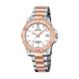 Jaguar Executive Diver – J871/1 – Quartz ur og vandtæt til 20 ATM. Uret har safirglas, en urkasse i rustfrit stål, hvid urskive, bicolor rosa/stål lænke og måler 35mm i diameter.