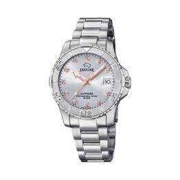 Jaguar Executive Diver – J870/2 – Quartz ur og vandtæt til 20 ATM. Uret har safirglas, en urkasse i rustfrit stål,sølv farvet urskive, stål lænke og måler 35mm i diameter.