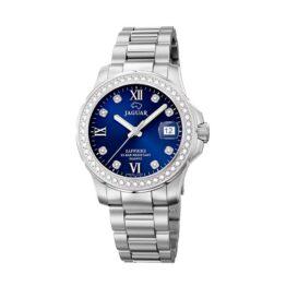 Jaguar Executive Diver – J892/3 – Quartz ur og vandtæt til 20 ATM. Uret har safirglas, en urkasse i rustfrit stål, blå urskive, stål lænke og måler 35mm i diameter.
