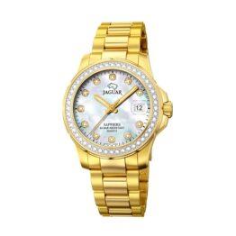 Jaguar Executive Diver – J895/1 – Quartz ur og vandtæt til 20 ATM. Uret har safirglas, double urkasse, perlemor urskive, double lænke og måler 35mm i diameter.