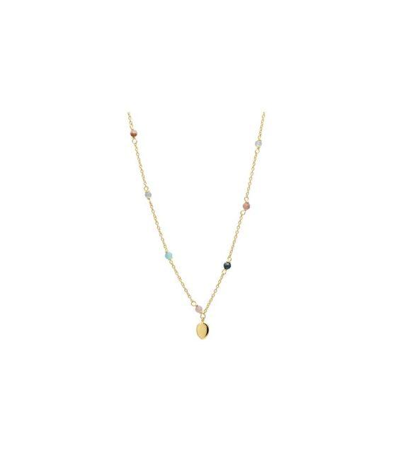 Aqua Dulce – Piper – 4091 – Halskæde i 14kt. forgyldt sølv med pastelfarvede smykkesten og et lille blad. Mål: 42cm.